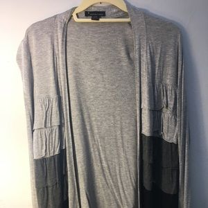 Forever 21 Grey and Black Ruffle Cardigan- Size L